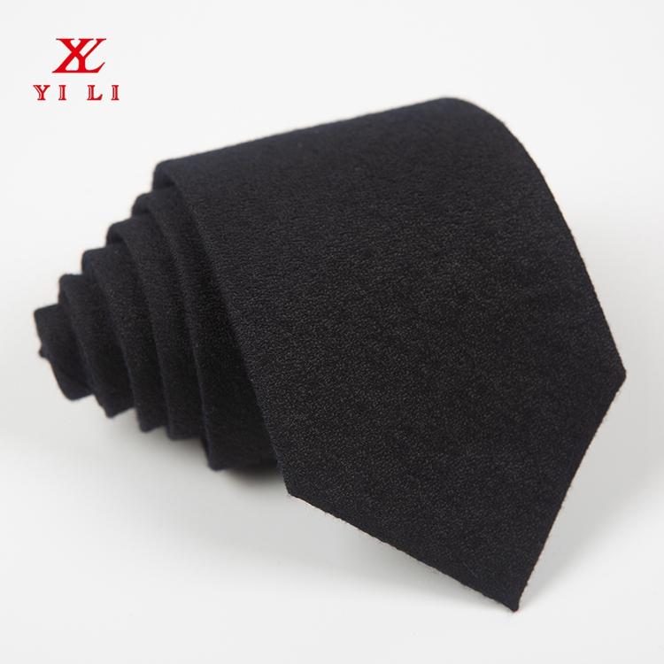 男士款色织涤丝黑色休闲领带
