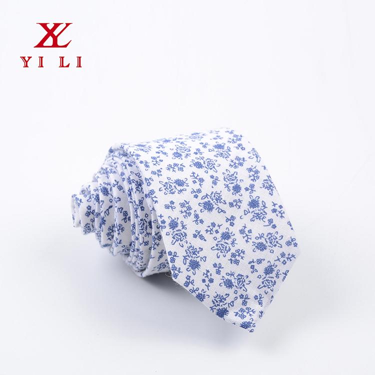 2020新款碎花定制领带夏日蓝色小花领带男士领带
