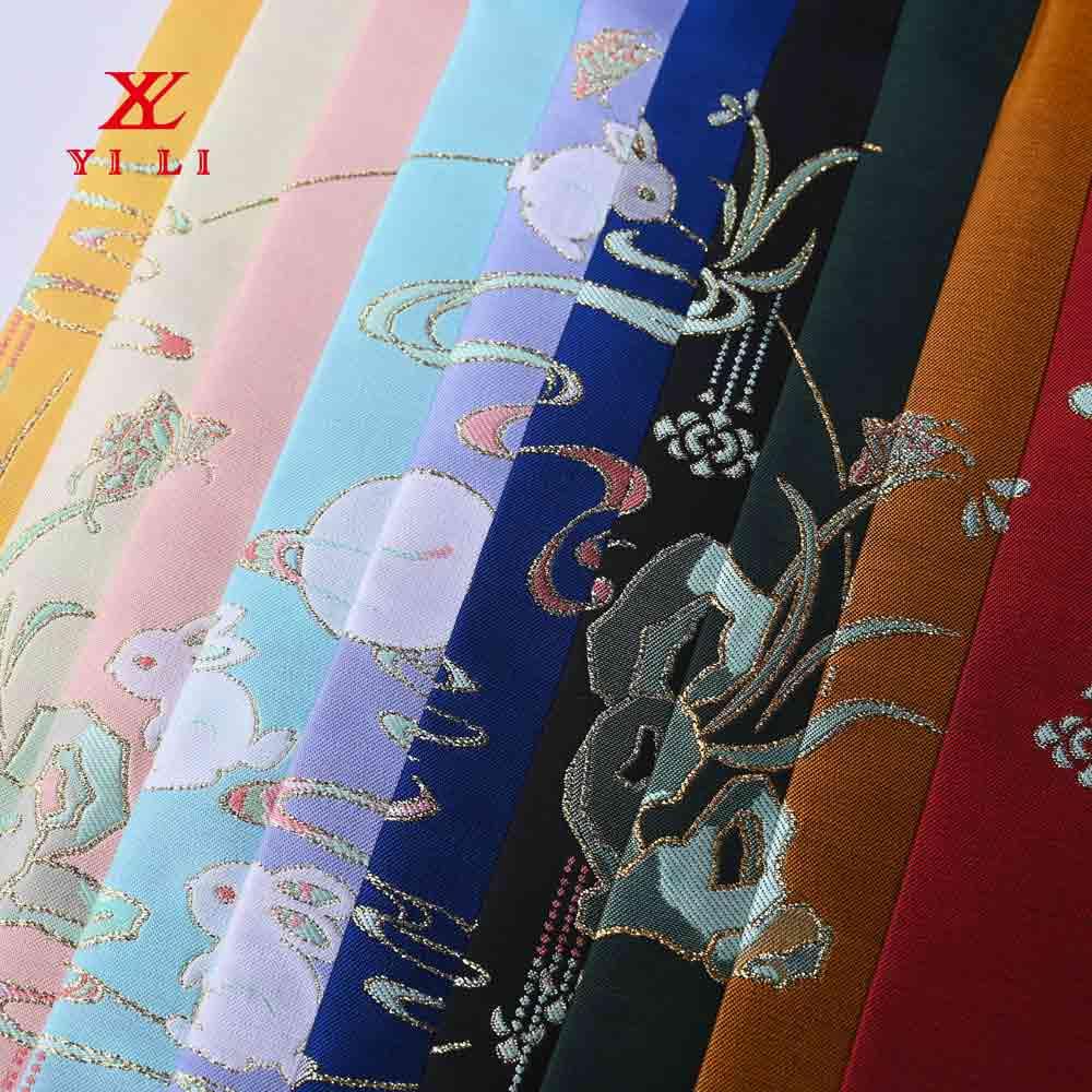 中国风涤丝提花面料 金丝礼服面料仿古旗袍 唐装汉服布料定制