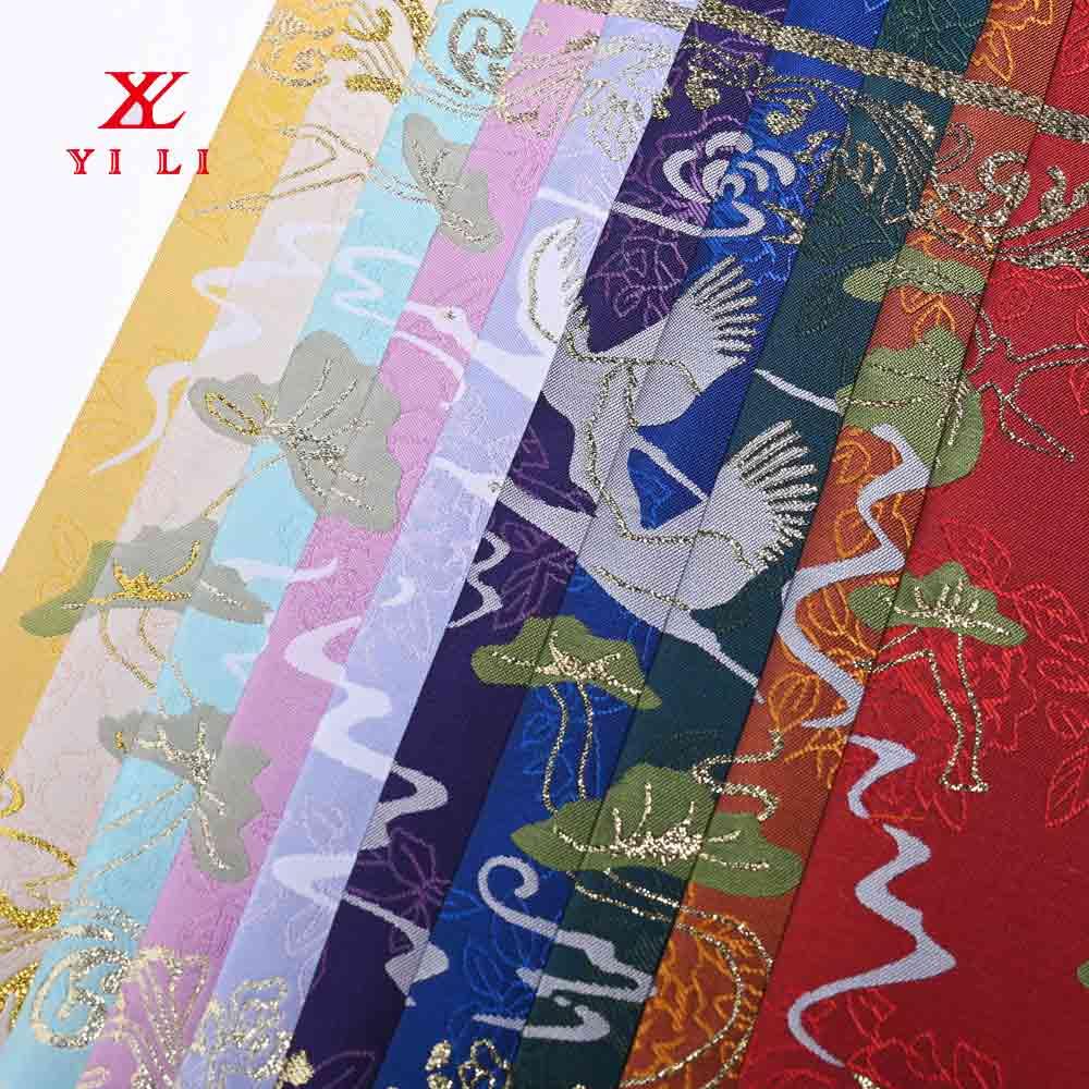 中国风明清提花色织布料 金丝女装古装汉服旗袍面料加工定制